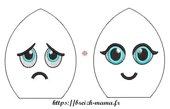 Motif broderie visage poulpes emotion
