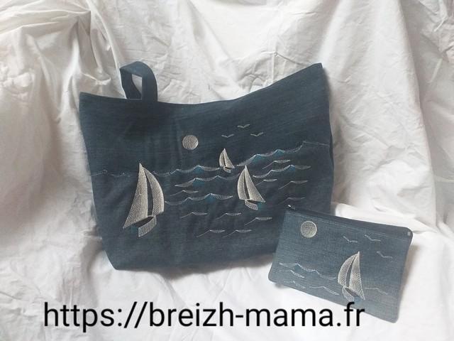 Ensemble sac et trouse brodé bateau