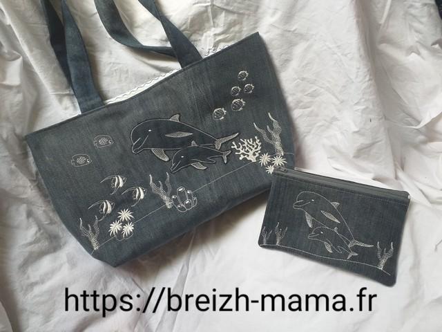 Boutique de Motifs Broderies Machine - Ensemble tote bag et trousse brodé dauphin