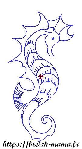 Motif broderie Paysage Hippocampe Redwork
