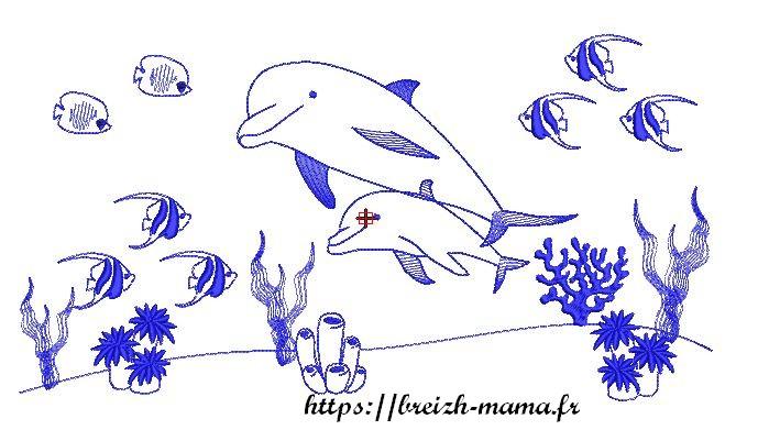 Motif broderie tableau fond marin dauphins