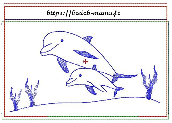 Motif broderie trousse ITH dauphins