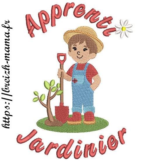 Motif broderie apprenti jardinier