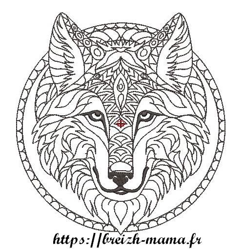 Motif broderie Loup tribal Rework