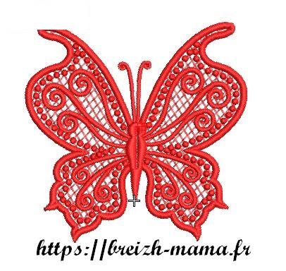 Motif broderie boutonnière papillon
