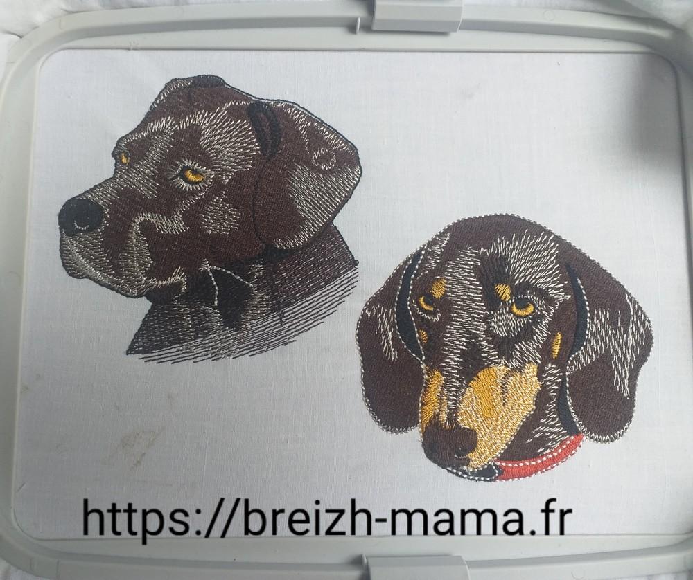 Têtes de chien Teckel et Cane Corso brodées