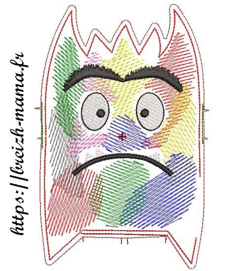 Motif broderie ITH Monstre émotion multicolore