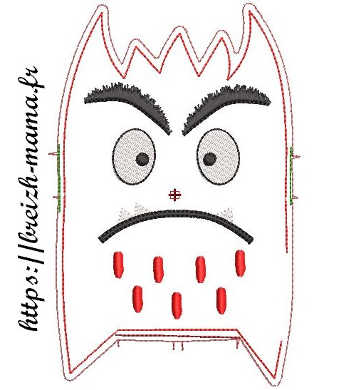 Motif broderie ITH Monstre émotion rouge