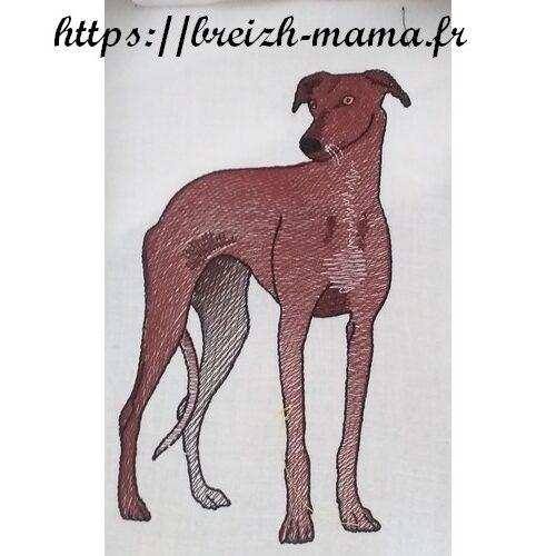 Motif broderie chien Lévrier Galgo