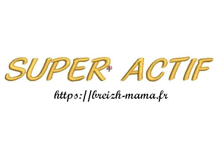 Motif broderie texte Super actif
