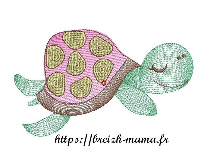 Motif broderie tortue design 2