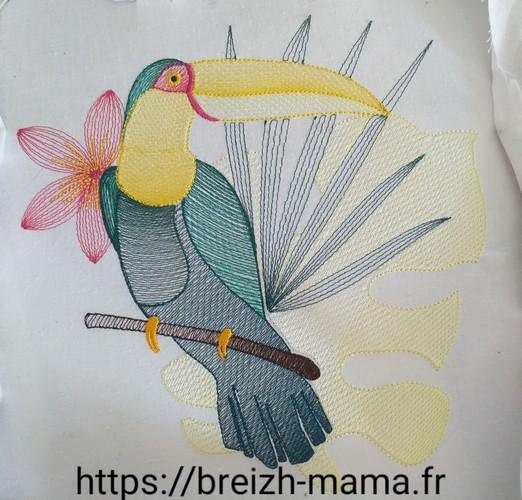Motif broderie toucan