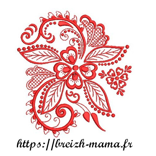 Motif broderie Grande fleur Redwork