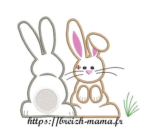 Motif broderie appliqué lapin