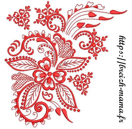 Motif Broderie Décor floral Redwork