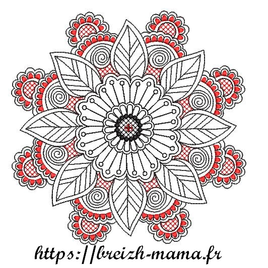 Motif broderie fleur mandala