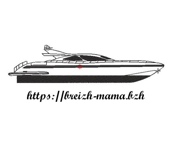 Motif broderie bateau Yacht Mangusta