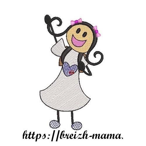 Motif broderie dessin fillette enfantin
