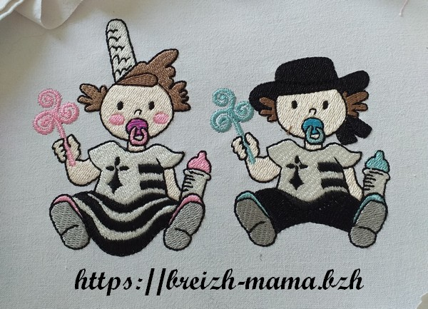 Motif broderie duo bébé breton