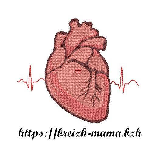 Motif broderie organe coeur
