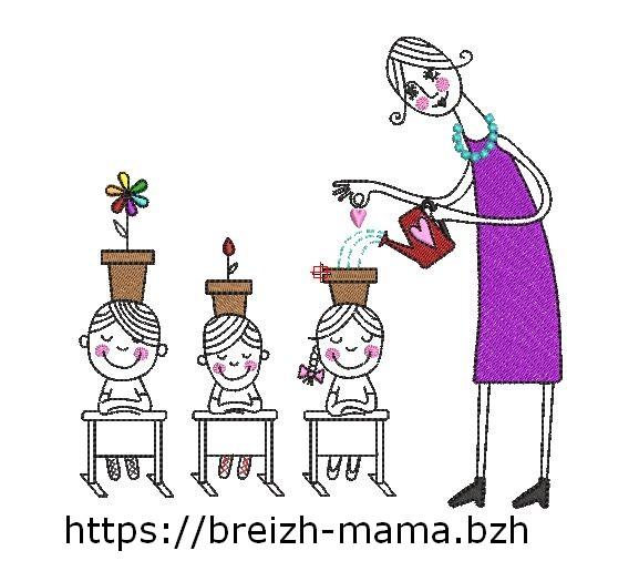 Motif broderie Dessin enseignante enfant