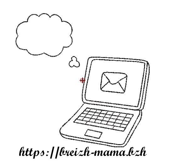 Motif broderie Ordinateur Email