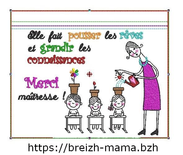 Motif broderie Trousse ITH Merci Maîtresse