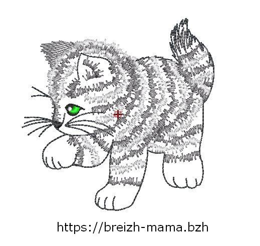 Motif broderie chaton tigré bicolore