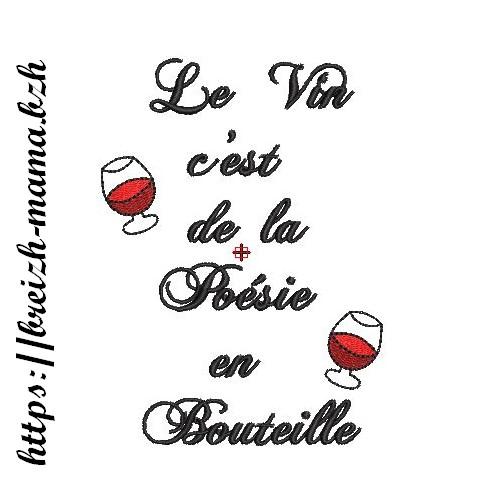 Motif broderie La Poésie du vin