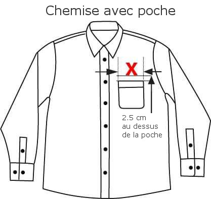 Placement de broderie sur chemise avec poche