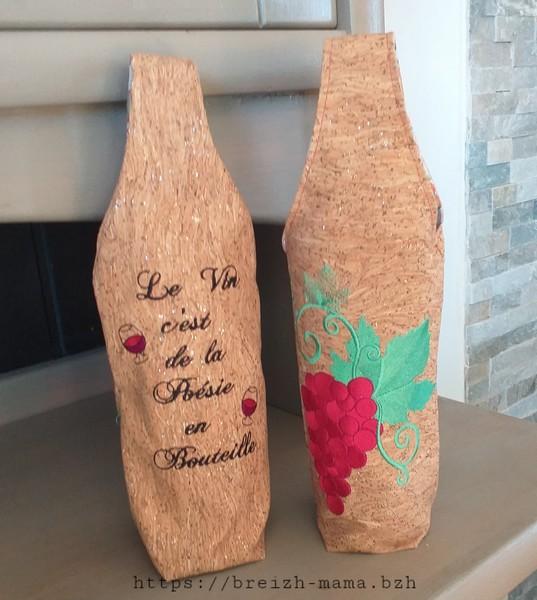 Sac bouteille broderie vin et raisin